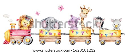 Cartoon train with lion driver and elephant, rhinoceros, giraffe, hippopotamus and zebra on waggons; watercolor hand draw illustration; with white isolated background