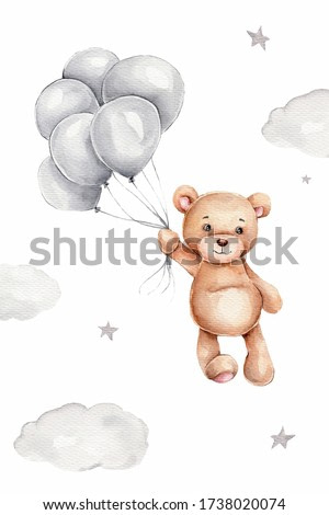 Watercolor teddy bear and grey balloons; hand draw illustration; can be used for kid poster or card; with white isolated background