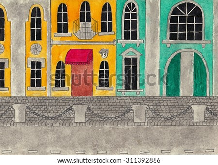 European street with facades of historic buildings. Watercolor and pencil drawing, artwork.