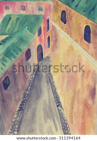 Old European town in the narrow streets and houses, top view. ?hildren watercolor