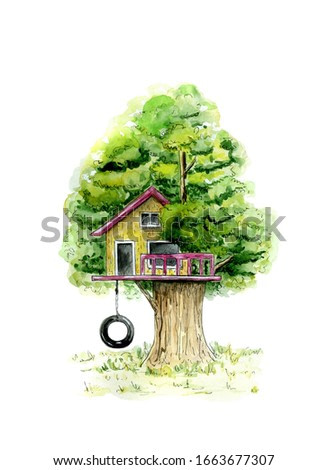 Watercolor illustration of a tree house in summer holidays