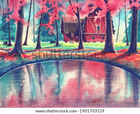 Magic watercolor nature landscape with red house and pond in autumn or summer forest. Hand drawn outdoors garden illustration with beautiful trees, leaves and mirrored water. Colorful painting art.