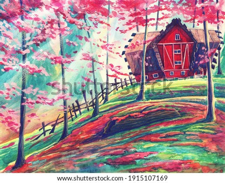 Fantasy watercolor magic landscape with red house in autumn or summer forest. Hand drawn painting art with outdoors garden, beautiful nature illustration with trees and sun lights.