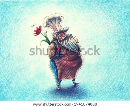 Man with red flower illustration, romantic chef with cap and apron drawing by watercolor, spring painting art, hand drawn artwork with funny personage in comics style.