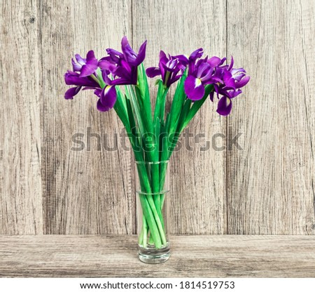 Blue daffodils in a vase with water against a background of planks.