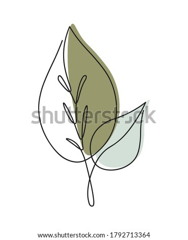 One line continuous of leaves, single line drawing art, tropical leaves,  botanical leaf isolated, simple art design, abstract line, vector