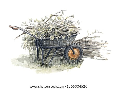 Old garden trolley full of cut branches. Beautiful watercolor illustration on white background.