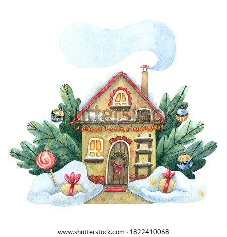 Watercolor winter house. Cozy winter illustration with house surrounded snowdrifts, fir branches with Christmas ornaments. Ladder, gifts, sleeping cat. Great for Christmas and New Year greeting cards.