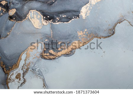 High resolution. Luxury abstract fluid art painting in alcohol ink technique, mixture of black, gray and gold paints. Imitation of marble stone cut, glowing golden veins. Tender and dreamy design.