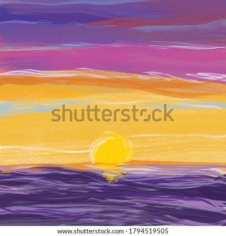 digital painting of abstract sunset with purple, orange, pink and blue sky, purple sea, acrylic painting, vector file.