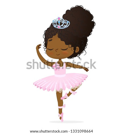 Cute African Princess Baby Girl Ballerina Dance Isolated. Afro Ballet Dancer Elegant Female Character Action Drawing. Candy Doll wear Pink Tutu Dress and Diadem Art Flat Cartoon Vector Illustration