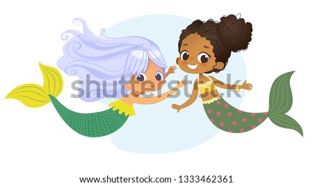 Mermaid African Caucasian Character Friend Nymph. Young Underwater African American Female Cute Mythology Princess Painting. Aquatic Isolated Marine Siren Drawing Flat Cartoon Vector Illustration