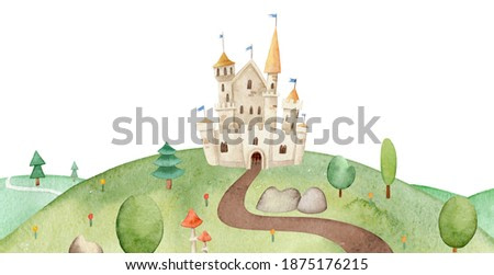 Illustration of Beautiful fairytale path leading to the castle on hill. Watercolor castle on a hill surrounded by trees, mushrooms and plants