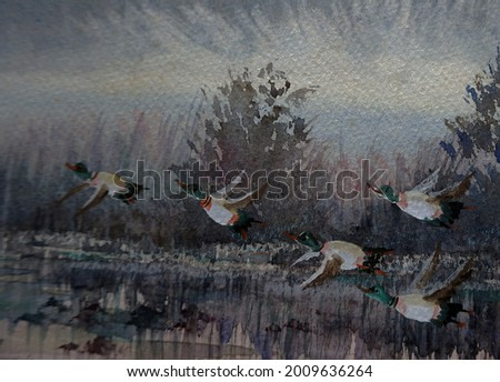 art Watercolor painting Many teal flying together