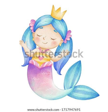 Watercolor illustration, cute mermaid girl in a crown, isolated on white background. Drawing of a mermaid in a cartoon style with blue hair, a purple-blue tail. Watercolor paper texture.