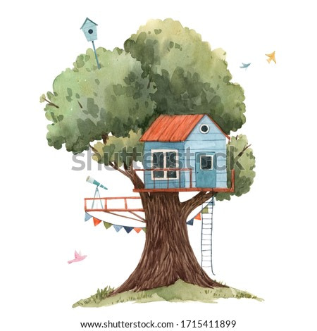 Beautiful stock illustration poster with cute watercolor children tree houses.