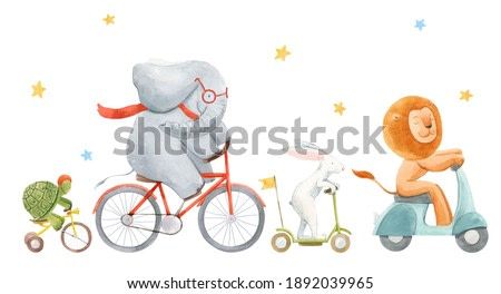 Beautiful stock illustration with watercolor hand drawn cute animals on transport. Lion rabbit turtle and elephant.