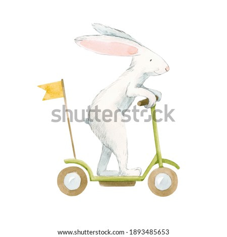 Beautiful stock illustration with cute watercolor baby rabbit on scooter. Animal hand drawn painting.