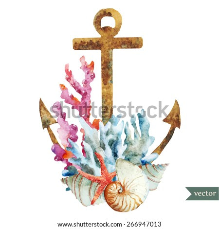 watercolor, vintage, object, anchor, shell, coral