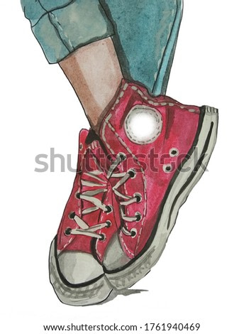 Watercolor illustration of red sneakers