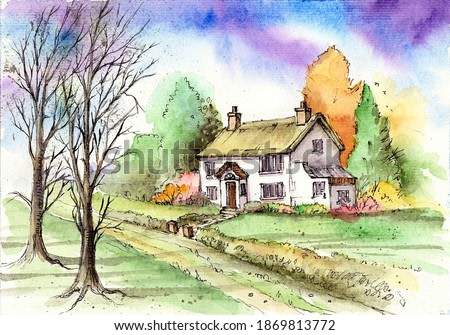 Watercolor illustration of an autumn landscape with a cozy village house, autumn trees and a lawn with several bushes
