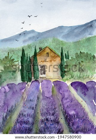 Watercolor illustration of a Tuscan landscape with a small house surrounded by cypresses, distant mountains and a purple lavender field