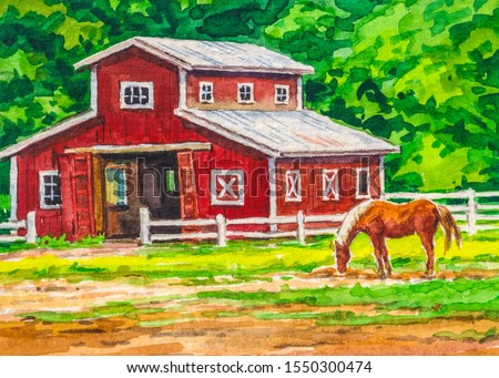 Farm with red barn and horse. Country landscape.