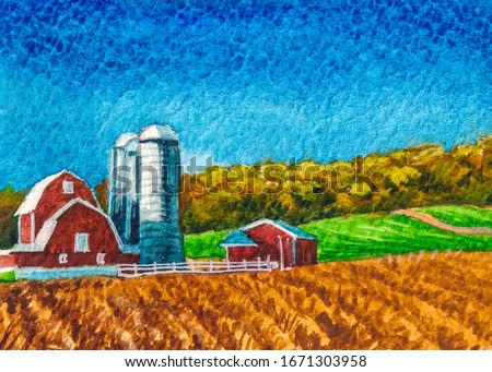 Classical American Farm. Country landscape with farmer barn. Watercolor painting.