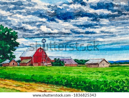 Red farm barn. Country landscape. Watercolor painting.