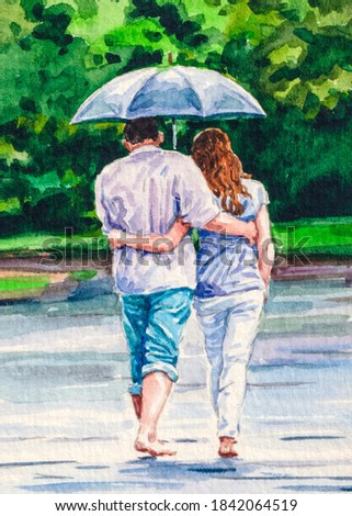 Couple man and woman under umbrella. Walk in the park. Romantic mood. Rainy autumn weather. Watercolor painting.