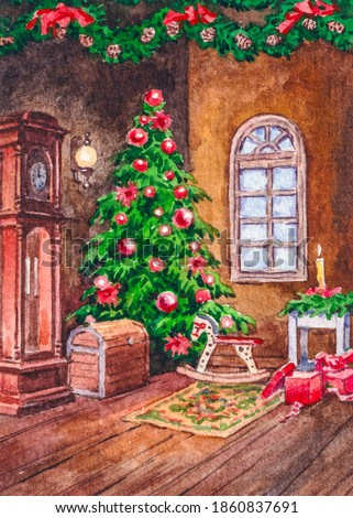 Decorated Christmas tree. Winter holidays. Happy New Year. Gift boxes under fir tree. Living room interior. Watercolor painting.