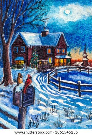 Snowy winter. Winter Holidays. Christmas time. Snowman and red cardinal bird. Country house. Cold winter season with snow. Watercolor painting.