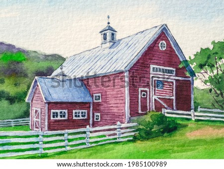 Farm red barn. American flag. 4th of July Independence, Memorial or Presidents Day. US starry striped patriotic symbol. United States Country landscape. Watercolor painting. Acrylic drawing art.
