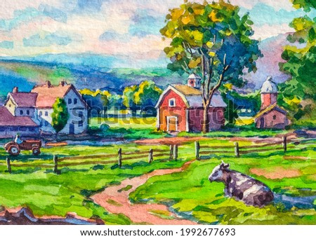 American farm. Country house. Red farm barn. Cows graze in the meadow. Farm animals. Autumn Landscape. Watercolor painting. Acrylic drawing art. A piece of art.