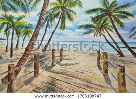 Watercolor tropical landscape palms, ocean, blue sky with clouds. Hand drawn.