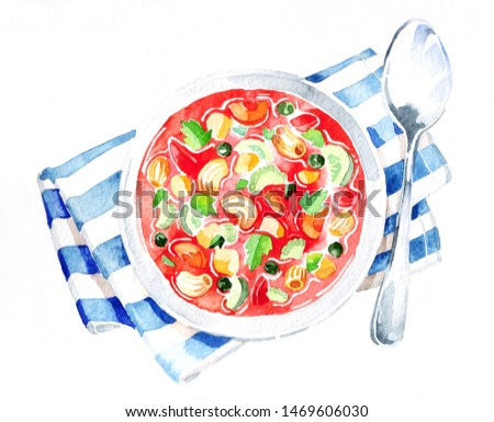 Minestrone soup. Watercolor hand drawing. Food, vegetables and fruit isolated on white background. Book illustration, recipe, menu, magazine or journal article