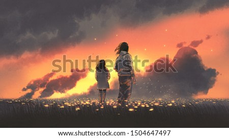 beautiful scenery of the young couple standing in glowing flowers meadow and looking at sunset sky, digital art style, illustration painting