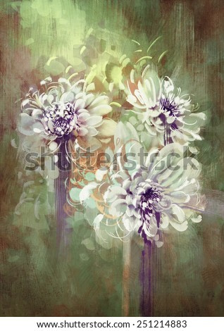 digital painting of abstract flowers,illustration