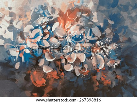 abstract flowers painting with vintage style color,illustration