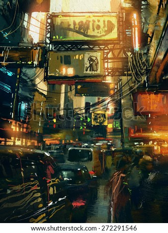 colorful painting of shopping street in modern city,illustration