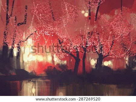 night scene of autumn forest,fantasy landscape painting