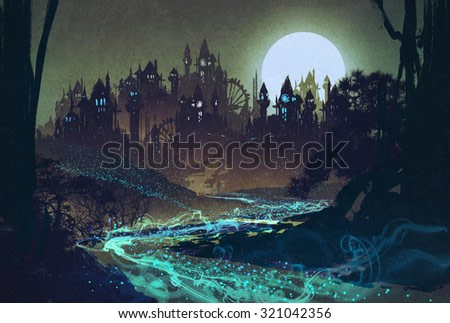 beautiful landscape with mysterious river,full moon over castles,illustration painting