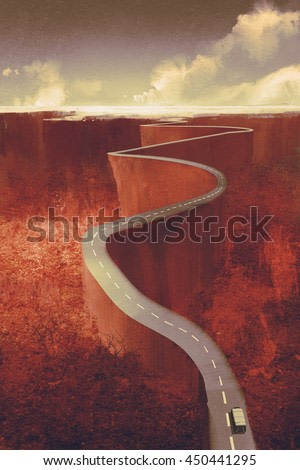scenic drive,extreme winding road with cliff,illustration digital painting