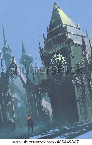 man looking at the clock tower in sci-fi city,illustration painting