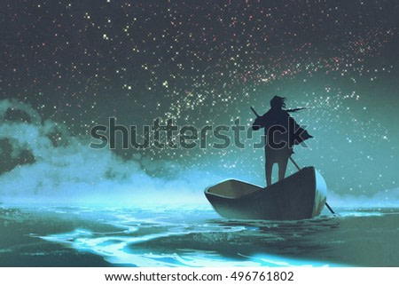 man rowing a boat in the sea under beautiful sky with stars,illustration painting