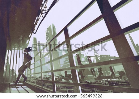 the man standing in a building industry construction,illustration painting