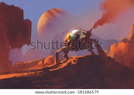sci-fi scene of the man in the robotic vehicle on red planet,illustration painting