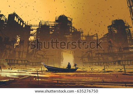 man on a boat floating in the sea against abandoned buildings with digital art style, illustration painting