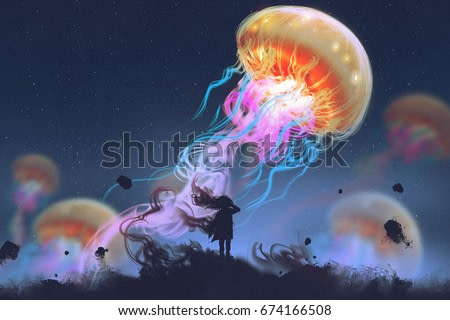 silhouette girl looking at giant jellyfish floating in the sky, digital art style, illustration painting