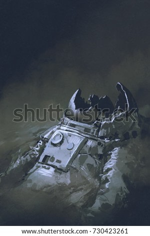 the remains of the astronaut in dark background, digital art style, illustration painting